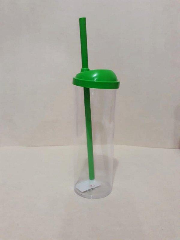 Copo Long Drink c/ Canudo 300ML - Verde Transparente