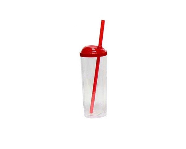 10 unid - Copo Long Drink com Canudo 300ML - Tampa Vermelho