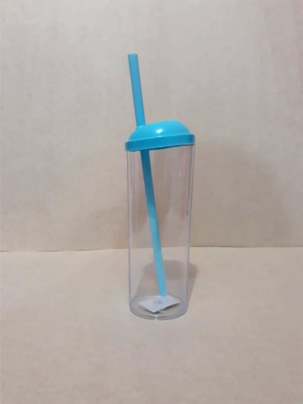 Copo Long Drink c/ Canudo 300ML - Azul Transparente