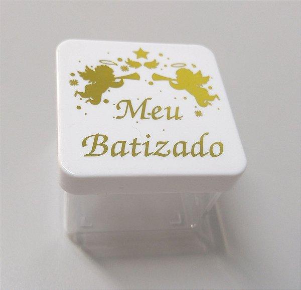 Caixa 5x5 - Meu batizado Branco e dourado