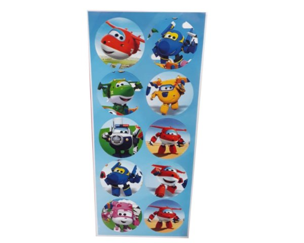 Adesivos Redondo Super Wings - Cartela com 30