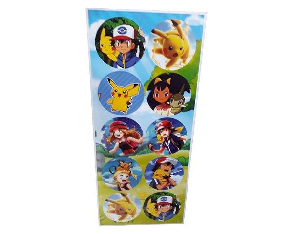 Adesivos Redondo Pokemon - Cartela com 30