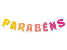 Faixa Parabéns- Festa Colors - Ombrê, Rosa e Amarelo