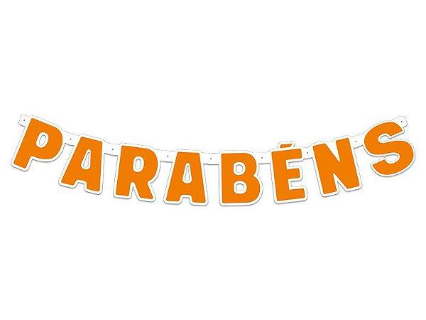 Faixa Parabéns - Festa Colors - Laranja