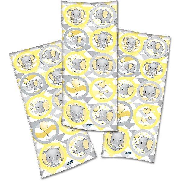 Adesivo Redondo Elefantinho Amarelo - 3 cartelas