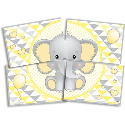 Painel Cartonado Gigante Elefantinho Amarelo