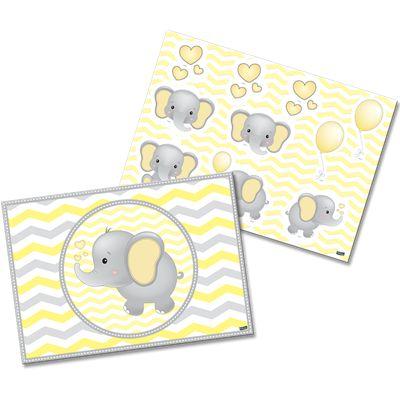 Kit decorativo Cartonado Elefantinho Amarelo