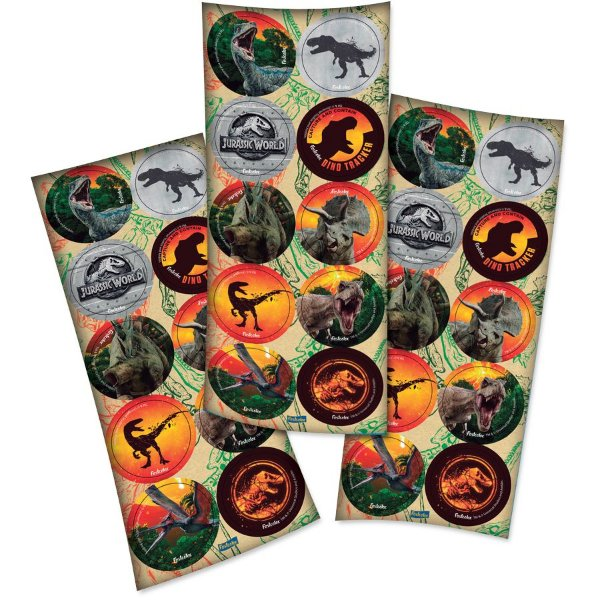 Adesivo Redondo Jurassic World - 30 unidades