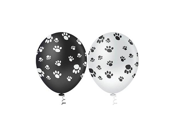 Balões Estampado N 10 - Patinhas Preta e Branca- 25 und- Pic Pic