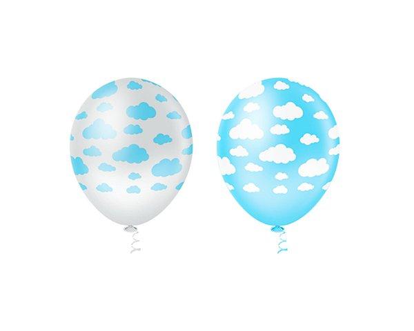 Balões Estampado N 10 - Nuvens Azul e Branca- 25 und- Pic Pic