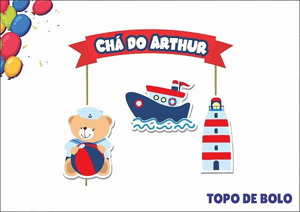 topo de bolo personalizado - ursinho marinheiro