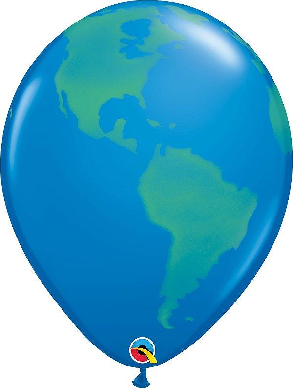 Balão Latéx Planeta Terra - 16 polegadas - unidade