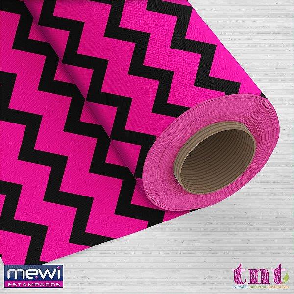 TNT Estampado - Chevron Preto F/ Rosa Fluorescente - 05 Metros