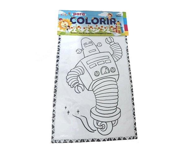 Kit com 10 Livros de colorir - 8 desenhos + Giz de Cera