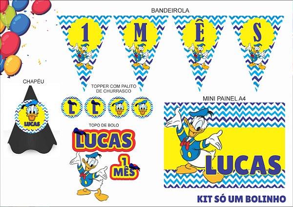 Kit Só um bolinho - mensário - Pato Donald -  5 itens