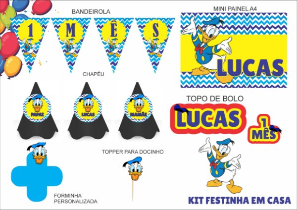 Kit Festinha em casa - Mensário - Pato Donald - 6 itens