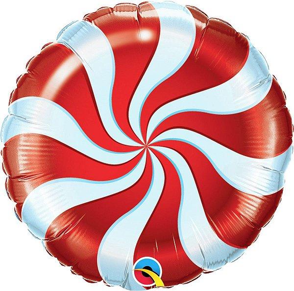 Balão Metalizado  - Bala Espiral Vermelho - 18 Polegadas