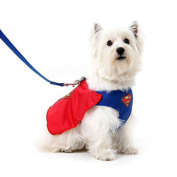 Peitoral com Guia Para Cachorro Air Mesh - Superman - Tamanho GG