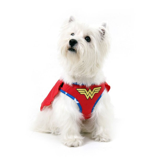 Peitoral com Guia Para Cachorro Air Mesh - Mulher Maravilha - Tamanho EG