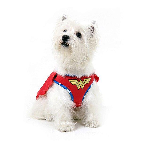 Peitoral com Guia Para Cachorro Air Mesh - Mulher Maravilha - Tamanho M