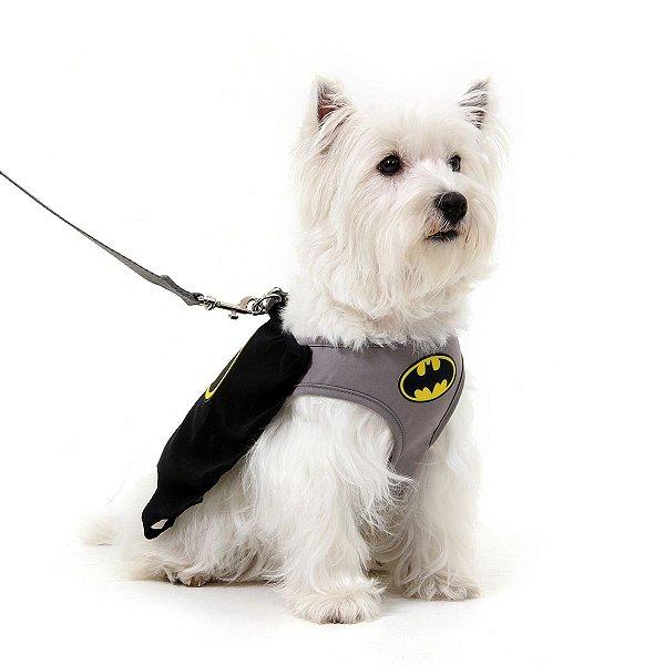 Peitoral com Guia Para Cachorro Air Mesh - Batman - Tamanho M