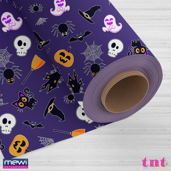 TNT Estampado - Happy Halloween Roxo - 05 Metros