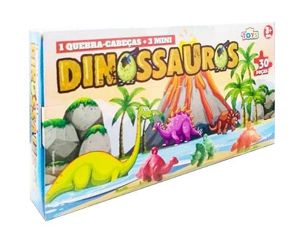 Kit Quebra cabeça - Dinossauro - Mini Toys - 10 Unidades