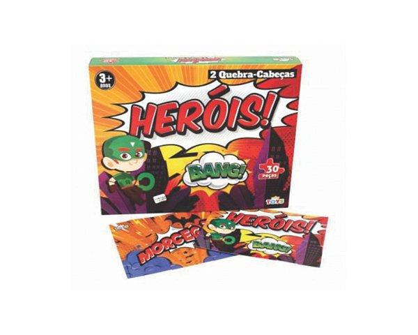 Kit Quebra cabeça - Heróis- Mini Toys - 10 Unidades