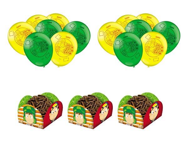 Kit Decoração Festa - Chaves 25 Balões + 40 Forminhas Doces