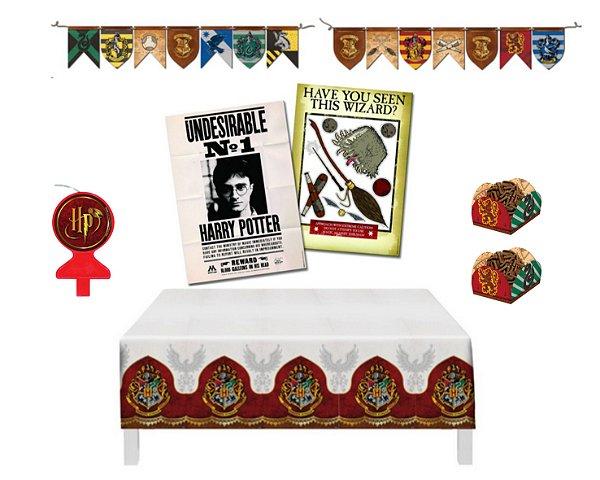 Kit Decoração - Festa Harry Potter - Painel Toalha Mesa Forminhas Faixa Vela