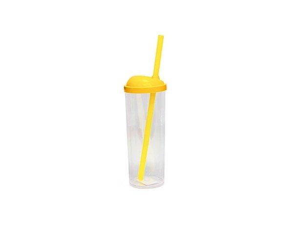 10 unid - Copos Long Drink com Canudo 300ML - Tampa Amarelo