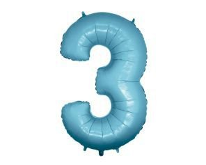 Balão Metalizado 40cm - Azul Claro - Número 3