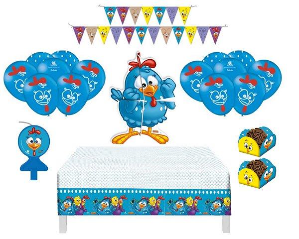 Kit Decoração - Galinha Pintadinha - Balões Toalha Painel Vela Forminhas Faixa
