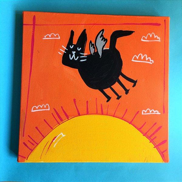 Gato voador sobrevoando o Sol