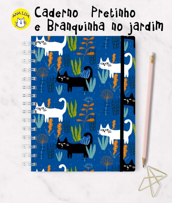 Caderno Pretinho e Branquinha no jardim