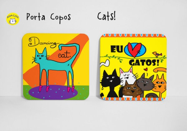 Conjunto de Porta  Copos CAts!