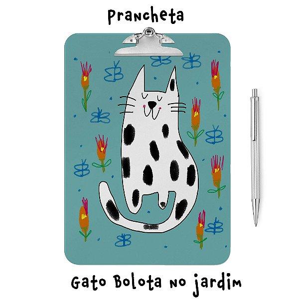Prancheta Gato Bolota no jardim