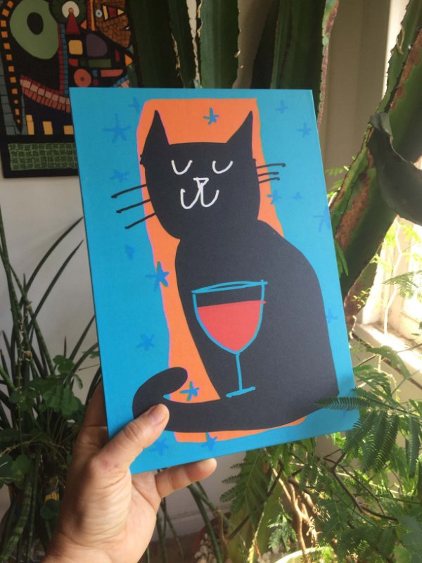 Poster Gato e Vinho