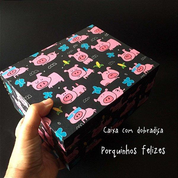 Caixa com dobradiça Porquinhos Felizes