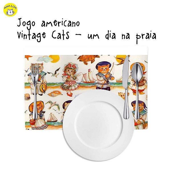 Jogo Americano Vintage Cats Um dia na praia