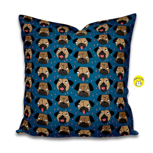 Capa de almofada  Pug Fundo azul