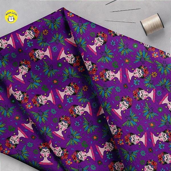Tecido  -Frida com Pavões mix roxo