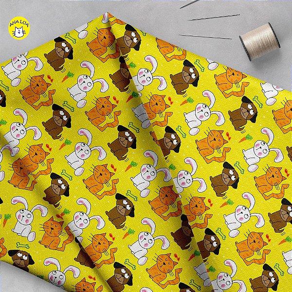 Tecido  -  Bichinhos fofos fd amarelo