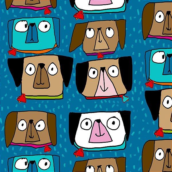 Tecido  -  Cachorrinhos olhudos fundo azul