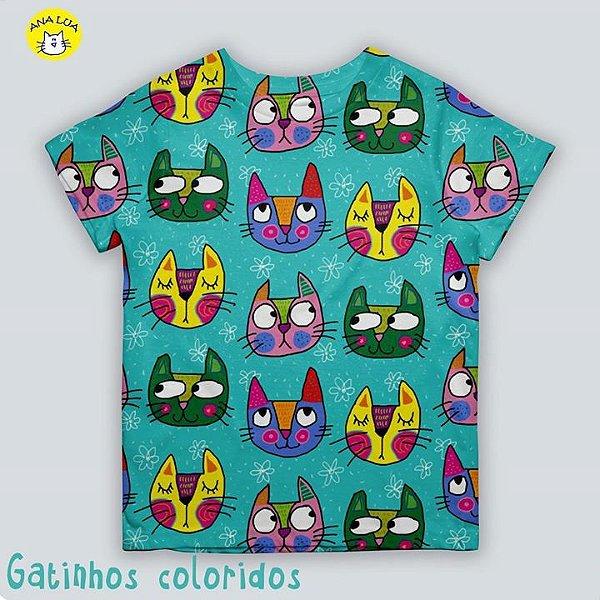 Blusinha infantil Gatinhos Coloridos