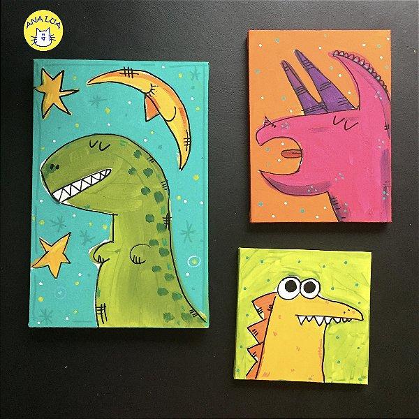 Trio de quadrinhos Dinos