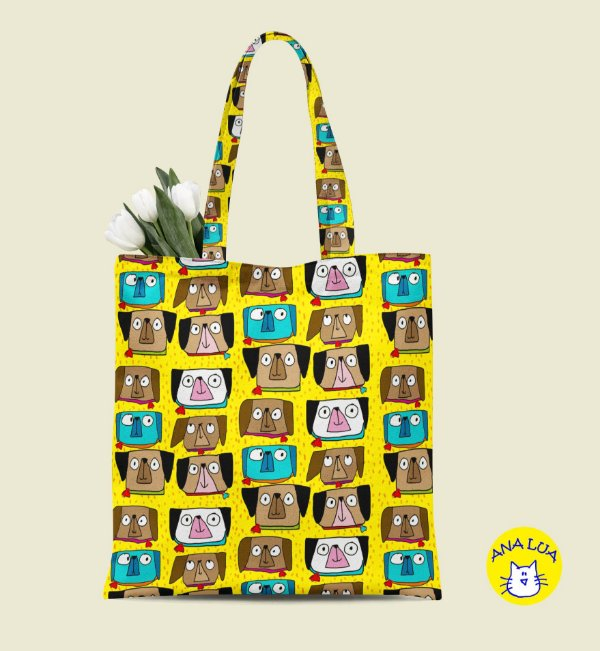 Book Bag Cachorrinhos Carentes fd amarelo