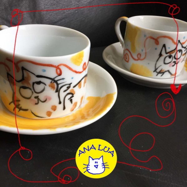 Conjuntinho   2 xicaras de chá  GAtinhos  Brincando