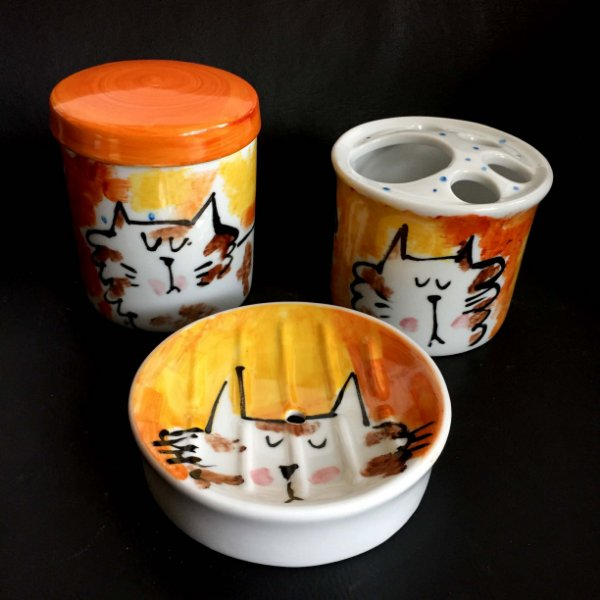 Conjunto de Banheiro Gatinho Peludo