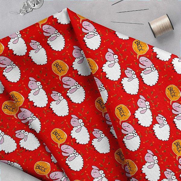 Tecido  -  Ovelhas fundo vermelho